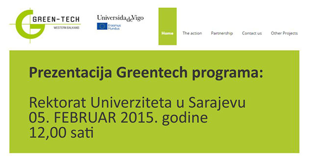 UNSA: Predstavljanje Erasmus Mundus GreenTECH projekta