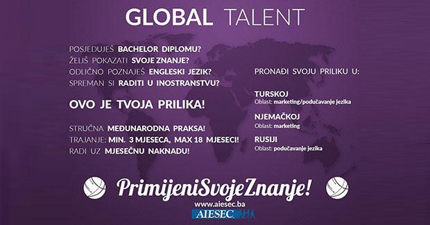 """""""Primijeni svoje znanje"""": Prijavite se na AIESEC Global Talent program stručnih praksi!"""