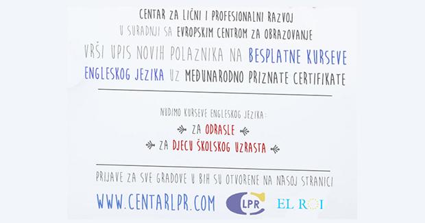 LPR Centar: Besplatan kurs engleskog jezika za sve građane Banjaluke
