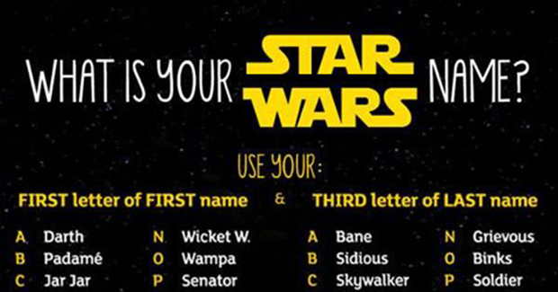 Odmorite od ispita i saznajte koje je vaše Star Wars ime