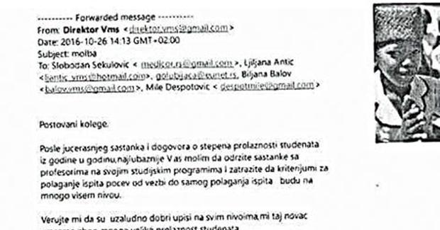Obarajte, treba nam novac U javnost procurio e-mail direktora Visoke medicinske škole u Ćupriji - Cover