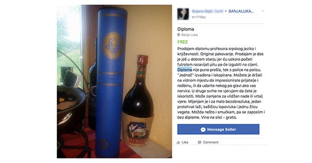 """Banjalučanka prodaje diplomu: Cijena je """"prava sitnica"""", a daje i nešto gratis"""