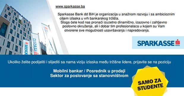 Odlična prilika za studente: Honorarni posao u Sparkasse banci
