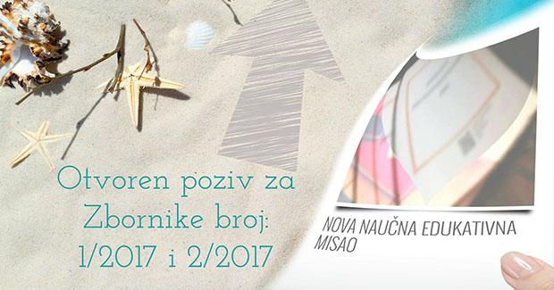 """Poziv za objavu radova u Zborniku: """"Nova naučna edukativna misao"""" br. 1/2017 i 2/2017"""
