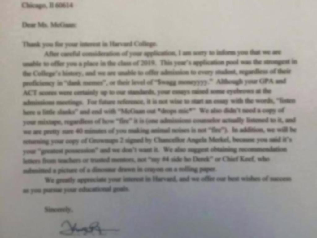 Najsmješniji odbijeni zahtjev za upis na fakultet ikada!