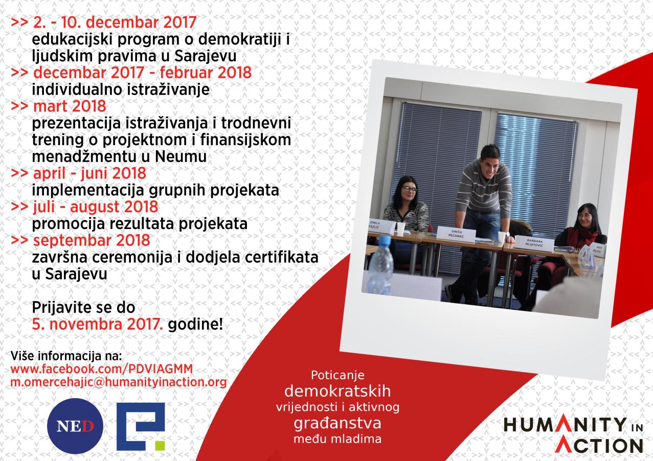 Poziv za dostavljanje prijava za učešće u projektu: Poticanje demokratskih vrijednosti  i aktivnog građanstva među mladima