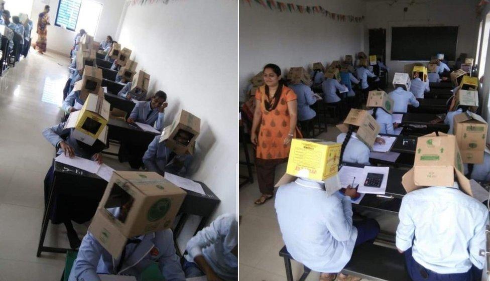 """""""Lijek"""" za prepisivanje: Studenti nosili kutije na glavama tokom testa"""