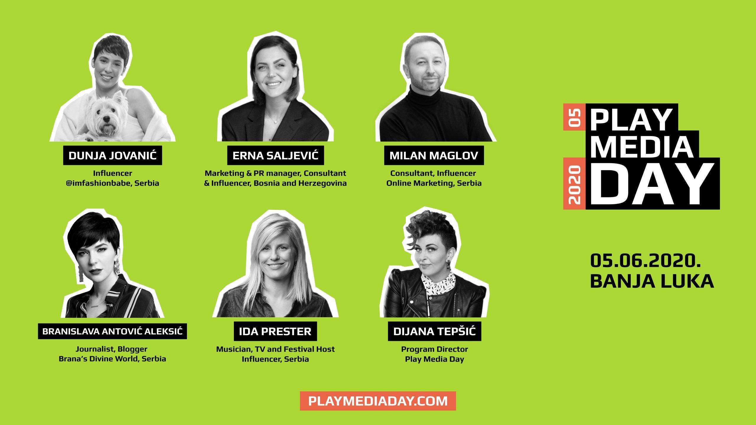 """Play Media Day panel """"Influenser marketing u vrijeme globalne krize"""" okupio Dunju Jovanić, Idu Prester, Ernu Saljević, Branislavu Antović i Milana Maglova"""