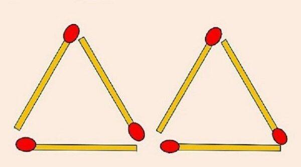 Možete li micanjem dvije šibice od dva napraviti četiri trokuta?