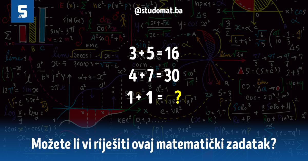 Matematička mozgalica koju bi svaki srednjoškolac trebao riješiti, možete li vi?