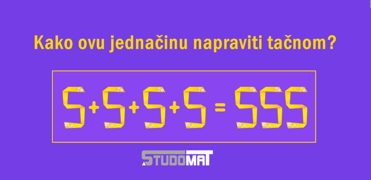 Mozgalica: Dodajte samo jednu liniju da bi jednačina bila tačna