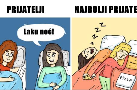 Ilustracije koje pokazuju razliku između prijatelja i najboljih prijatelja