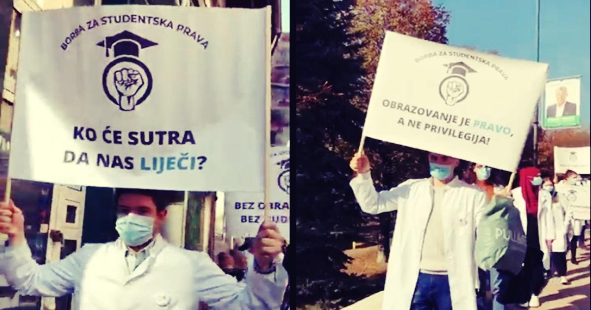 Studenti Medicinskog fakulteta u Sarajevu na protestnoj šetnji poručili: Ko će sutra da nas liječi?