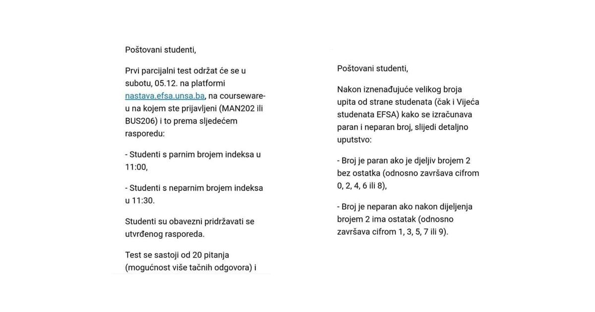 Pojedini studenti Ekonomskog fakulteta u Sarajevu šokirali neznanjem o parnim i neparnim brojevima