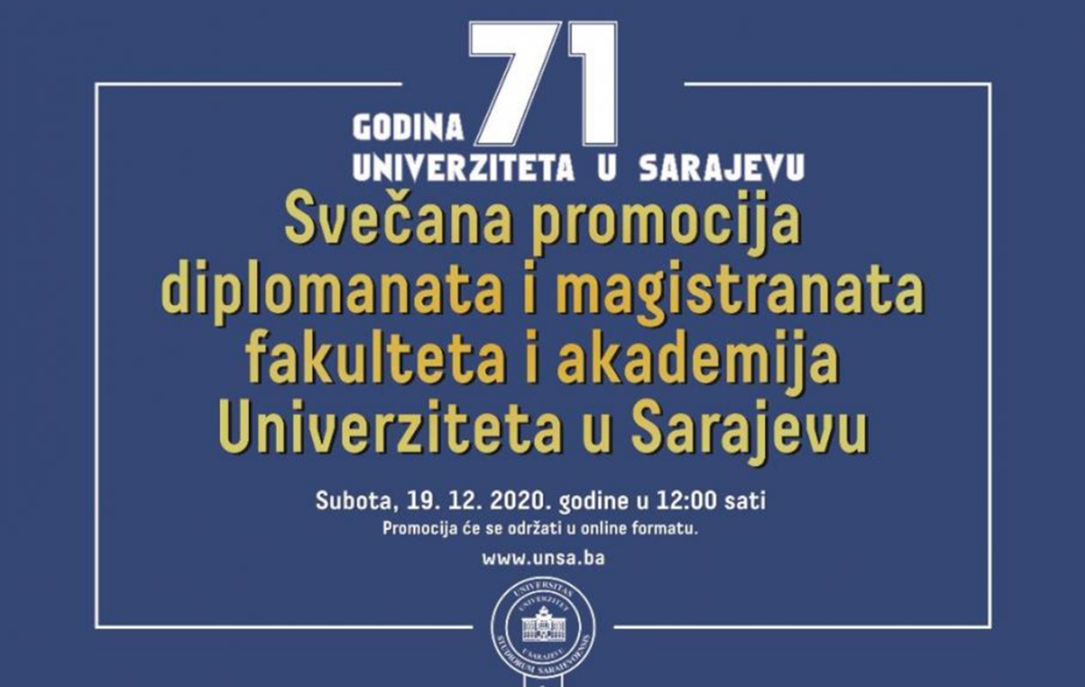 UNSA: Svečana promocija diplomanata i magistranata u online formatu u subotu