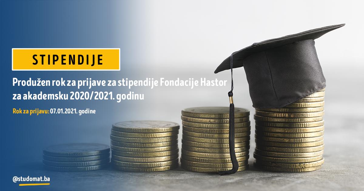 Produžen rok za prijave za stipendije Fondacije Hastor za akademsku 2020/2021. godinu