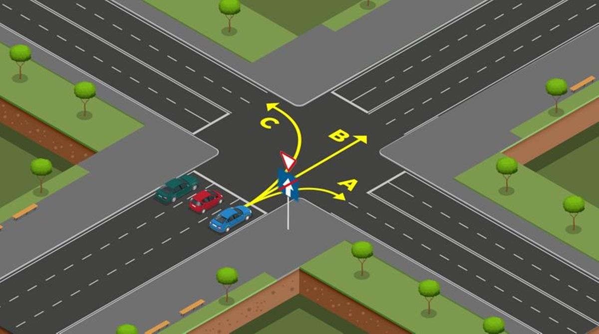 Raskrsnica za razmišljanje: U kojim smjerovima smije da se kreće plavi automobil?
