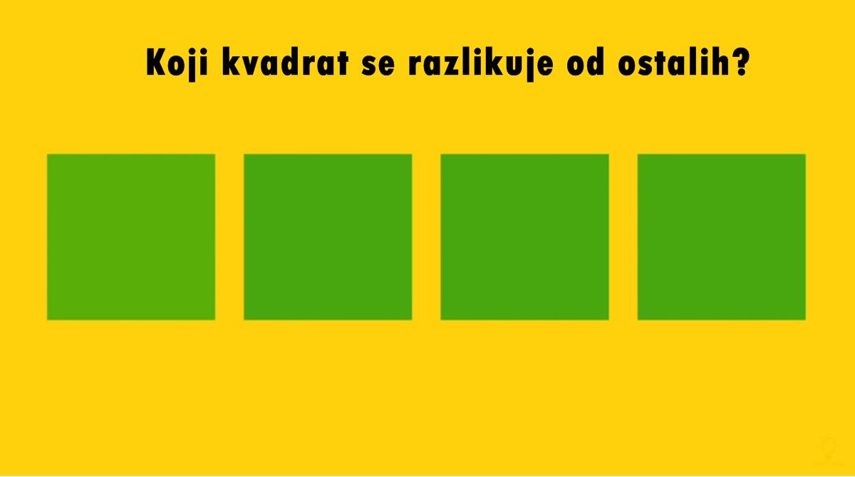 Test opažanja: Koji kvadrat se razlikuje od ostalih na slici?