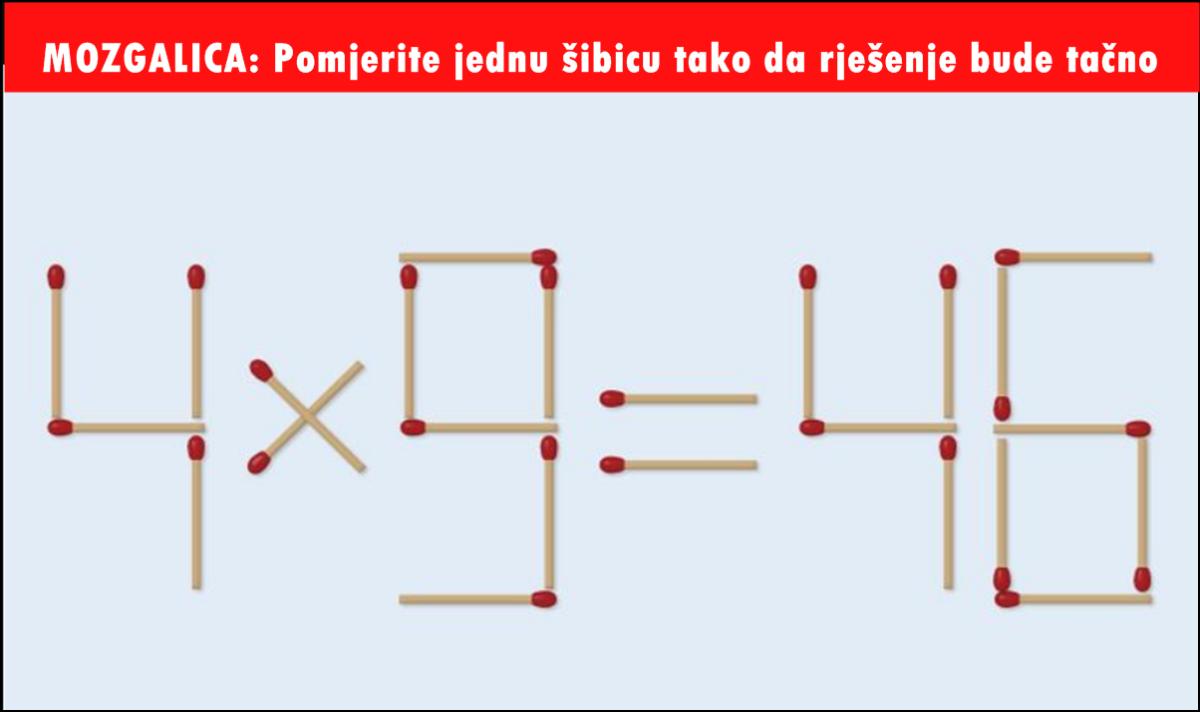 Mozgalica: Pomjerite jednu šibicu tako da rješenje bude tačno