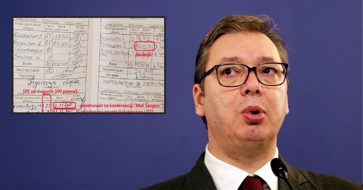 Društvene mreže ga ismijale: Vučić na ispitu osvojio 105 bodova od mogućih 100!