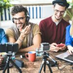 Young people sharing digital content on marketing streaming platforms