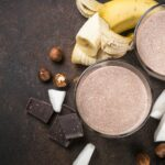 Chocolate banana coconut hazelnut milkshake or smoothie