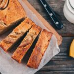 homemade banana bread on a wooden background