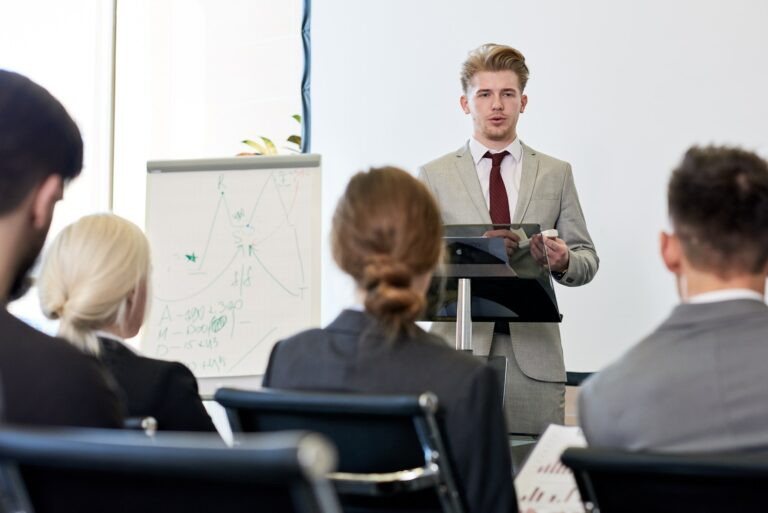 Young Businessman Presenting Project