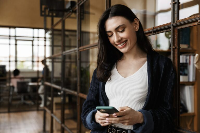 Attractive smart young woman entrepreneur