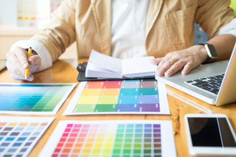 Creative Graphic designer at work