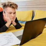 Student attending online class
