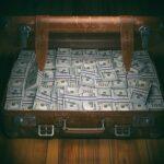 Vintage suitcase full of money. Business emigration concept back