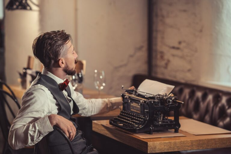 Young writer at the desk