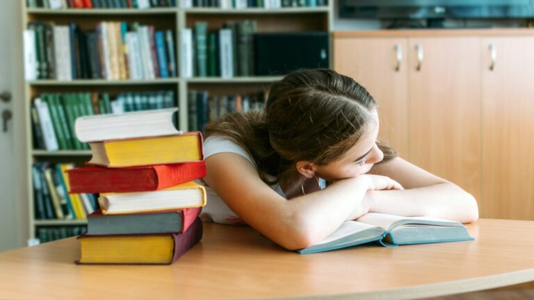 College Students overwhelmed, overworked, burned out, perfectionists. Teen tired girl, young woman