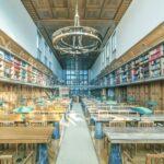 Desks and chairs in University Library of Slovenia, Ljubljana, Central Slovenia, Slovenia