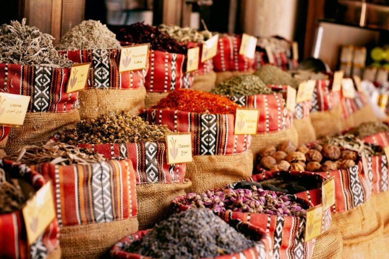 A wide selection of spices on the market in Dubai