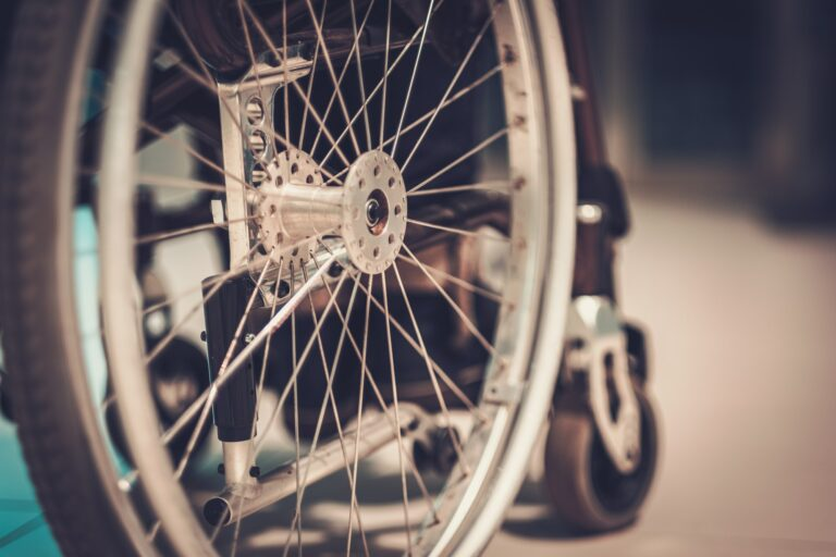 Close-up view of a wheelchair
