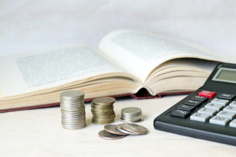 Coins and a calculator, expensive education and low scholarship
