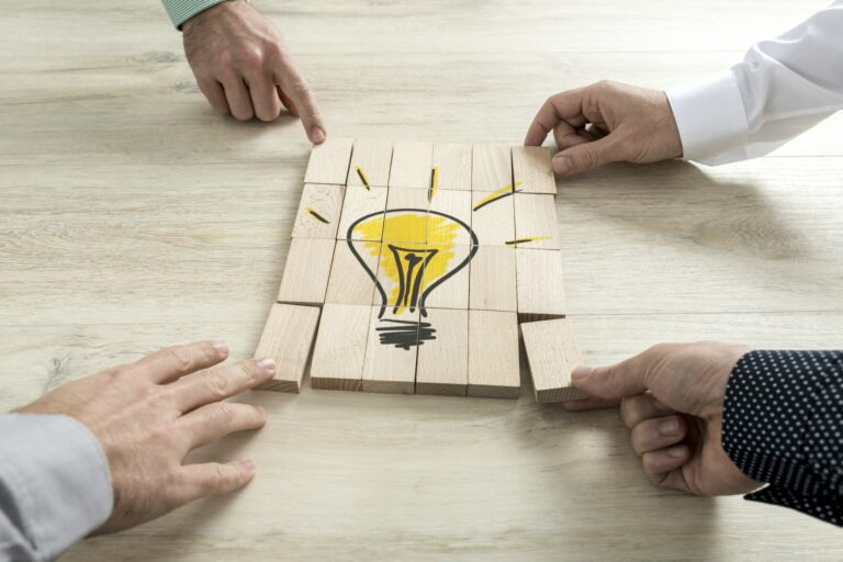Conceptual of business strategy, creativity or teamwork