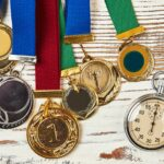 Stopwatch and sport medals