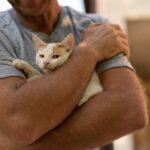 The man hugs the cat