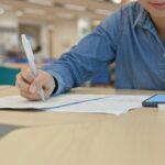 Woman study at library