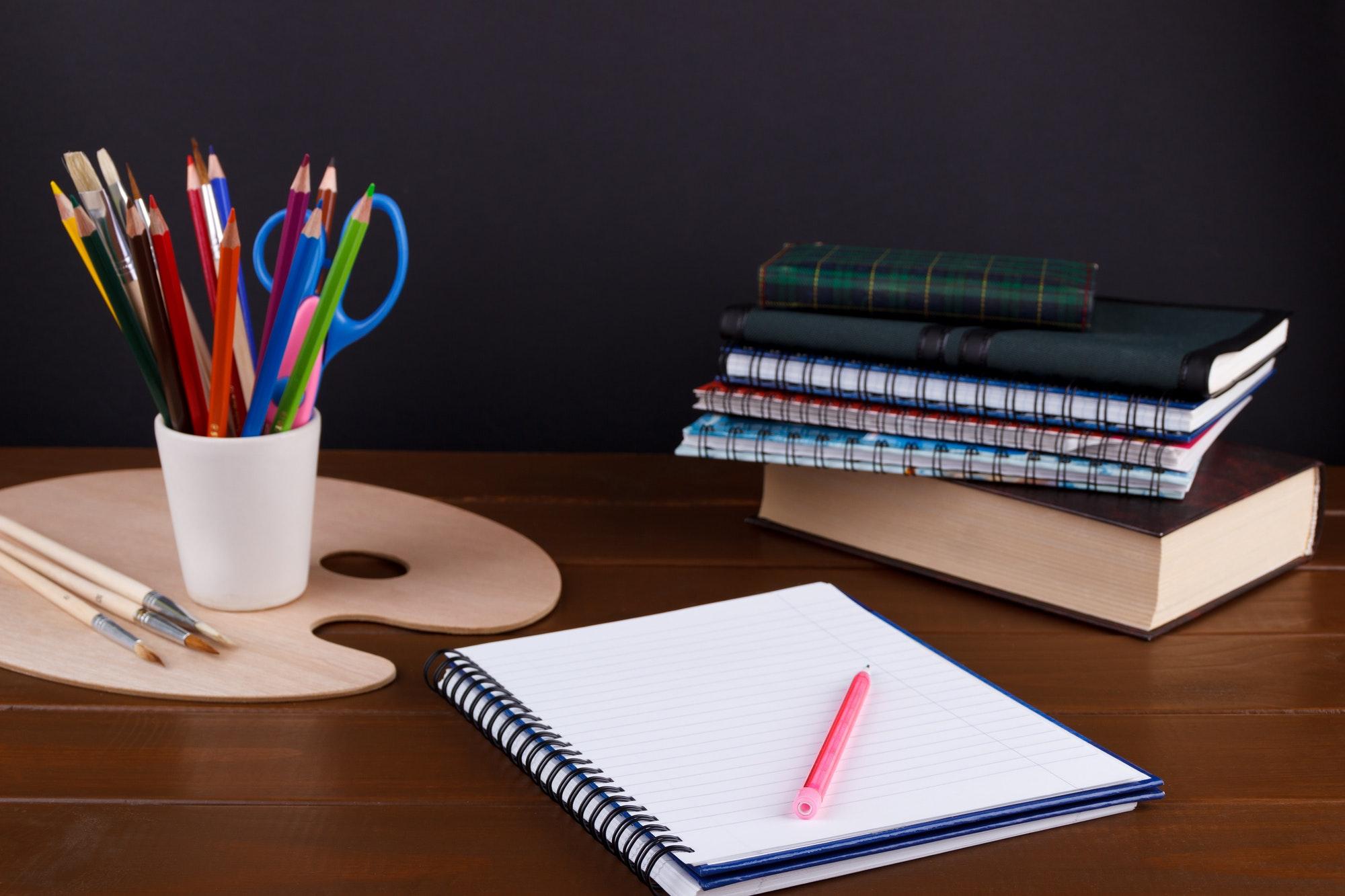 Student studies accessories