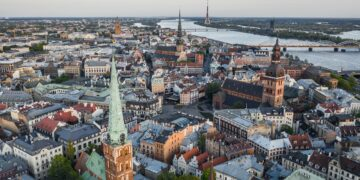 Aerial view of Riga before sunset
