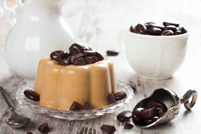 Coffee panna cotta with chocolate candies