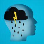 Papercut head, adult depression concept. Mental health problems, psychology, mental illness