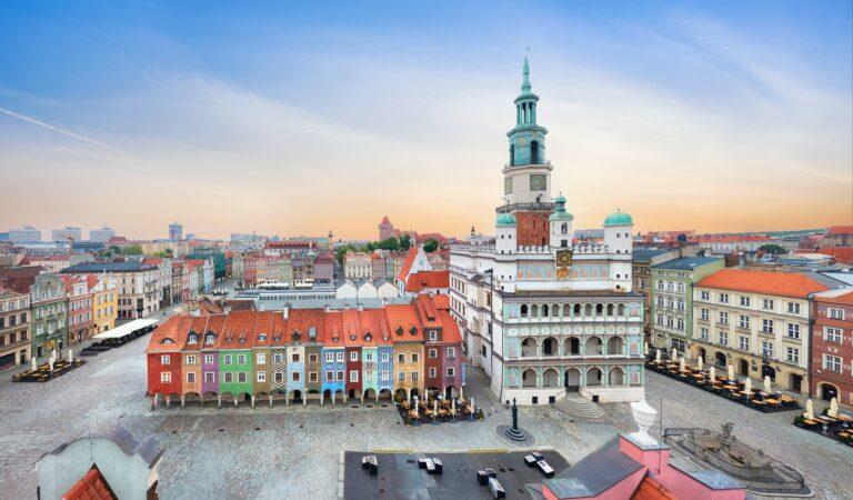Poznan, Poland. Aerial view of Rynek (Market) square
