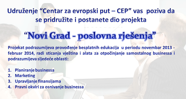 "CEP projekat ""Novi Grad – poslovna rješenja"": Prijavite se na besplatne edukacije"