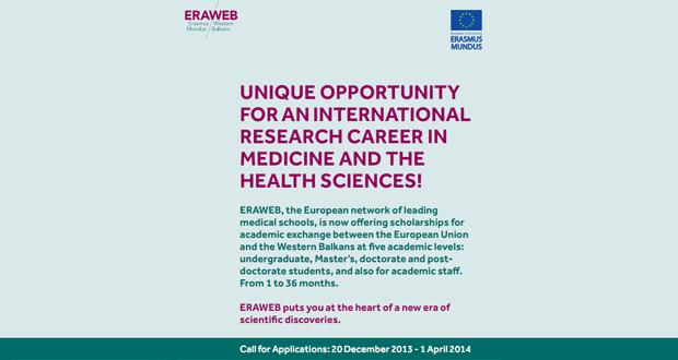ERAWEB: Međunarodne istraživačke karijere u medicini i zdravstvenim naukama za studente iz BiH
