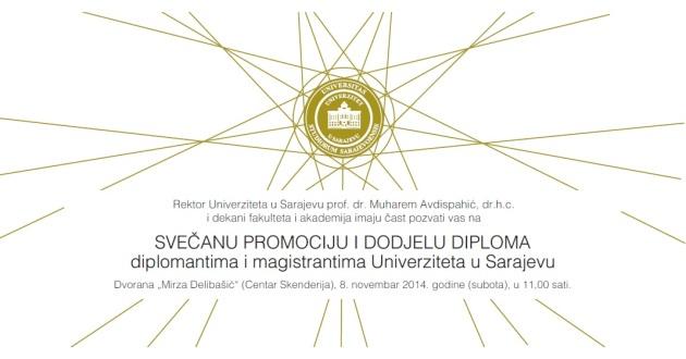 Svečana promocija i dodjela diploma diplomantima i magistrantima Univerziteta u Sarajevu
